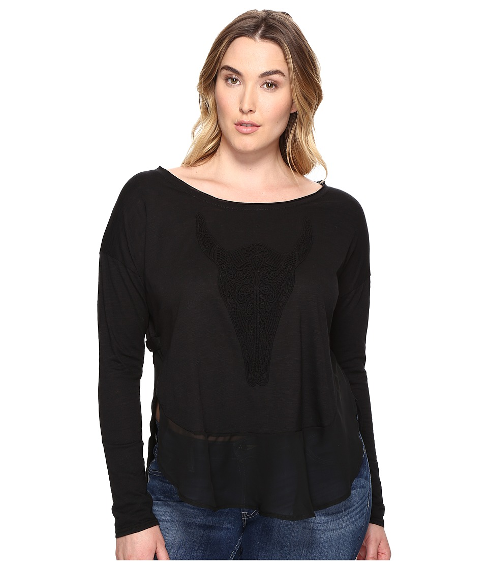 Roper - Plus Size 0606 Jersey Slouchy Tee (Black) Women's Clothing