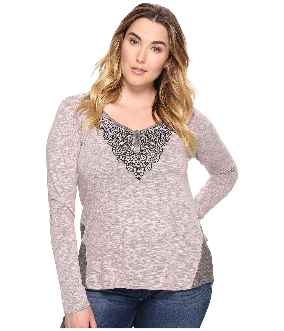 Roper - Plus Size 0570 Heather Jersey Henley (Pink) Women's Clothing