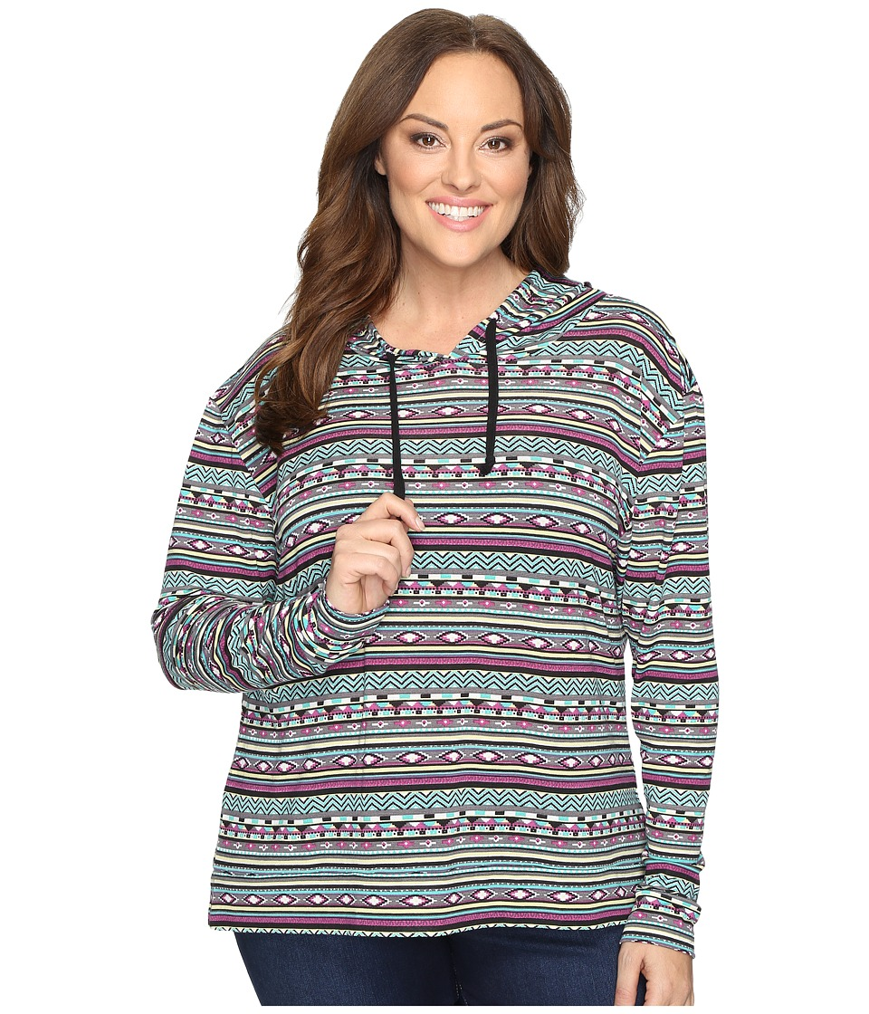 Roper - Plus Size 0528 Printed Brushed Twill Jersey (Purple) Women's Clothing