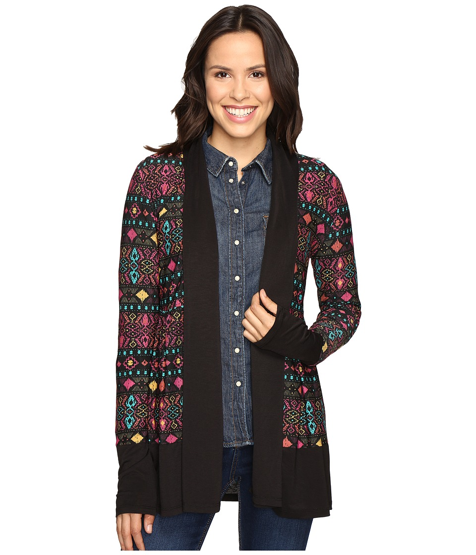 Roper - 0607 Folk Embroidery Printed Jersey Cardigan (Black) Women's Sweater