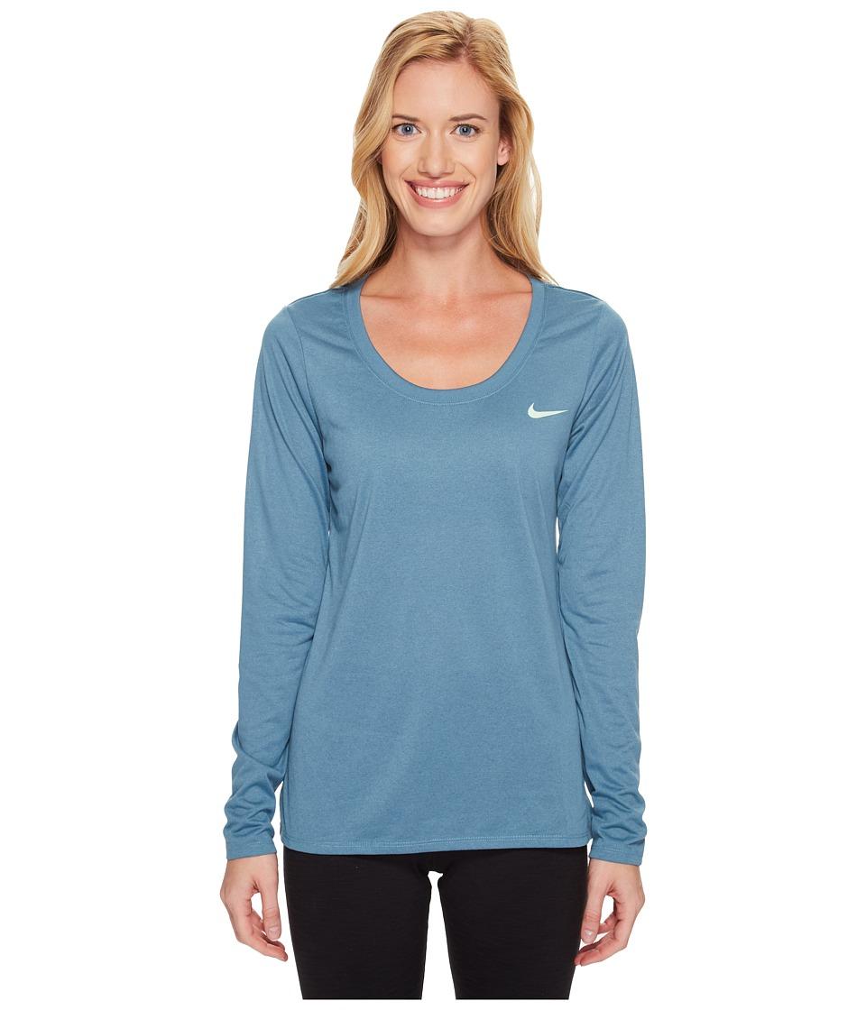 Nike - Dry Legend Long Sleeve Tee (Smokey Blue/Fresh Mint) Women's T Shirt