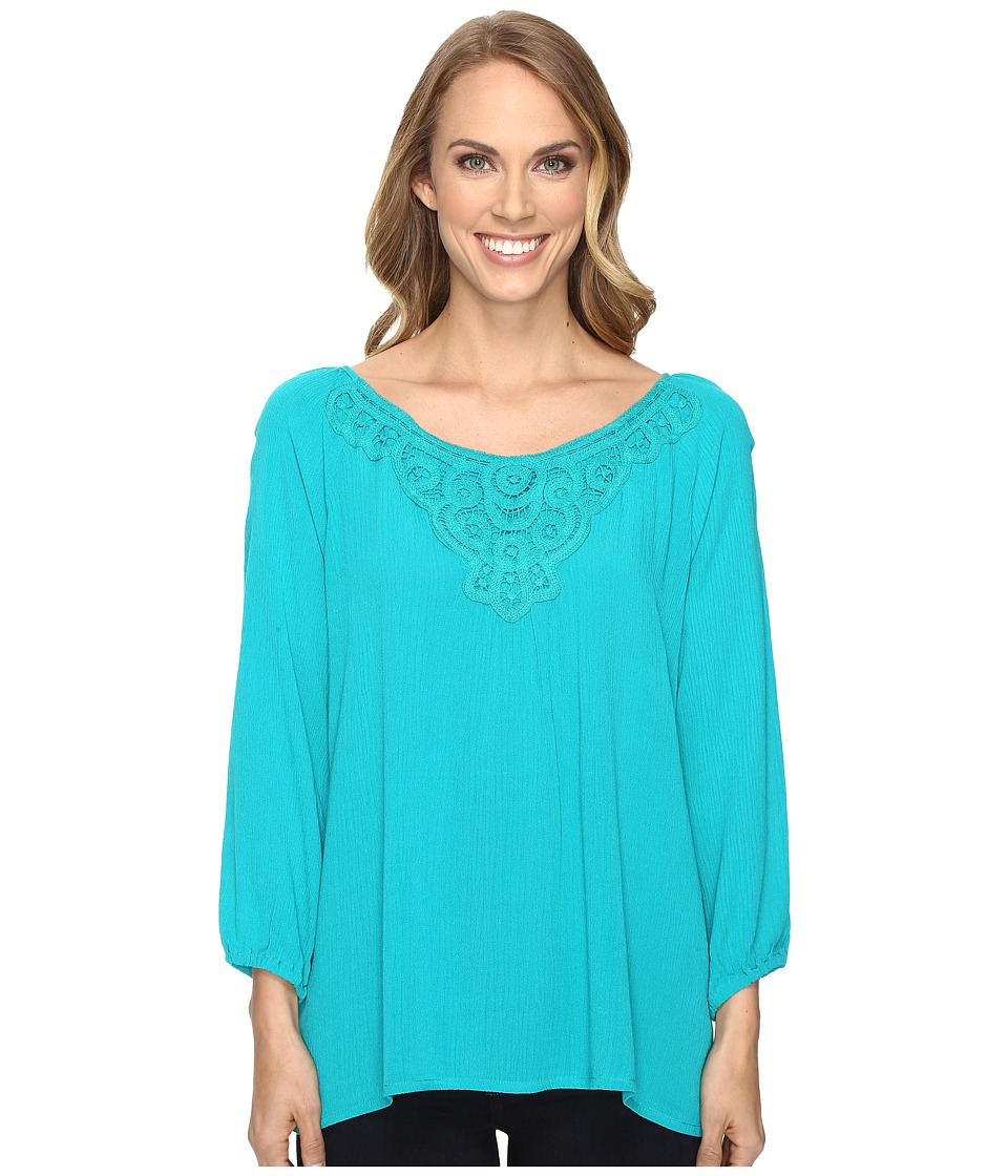 Roper - 0614 Crepe Blouse (Blue) Women's Blouse