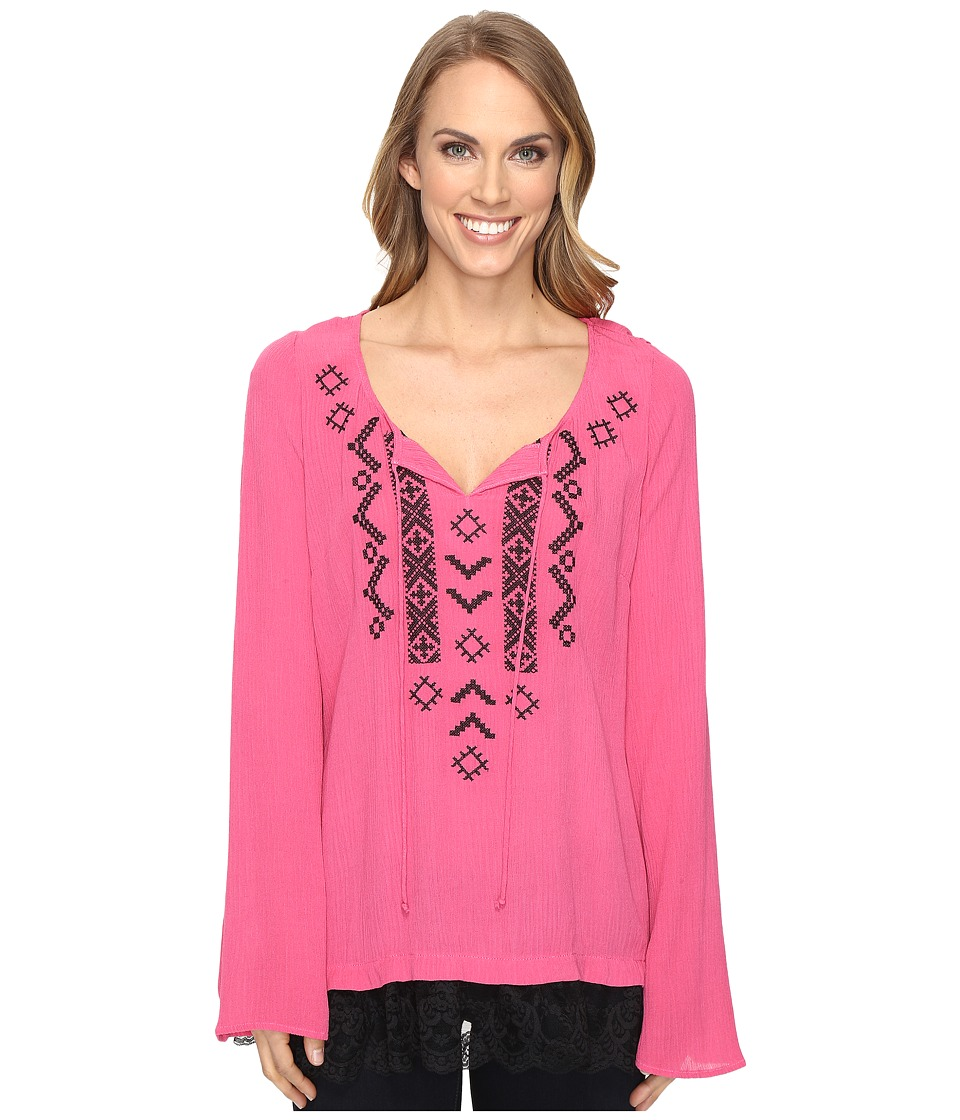 Roper - 0614 Crepe Tunic Top (Pink) Women's Clothing