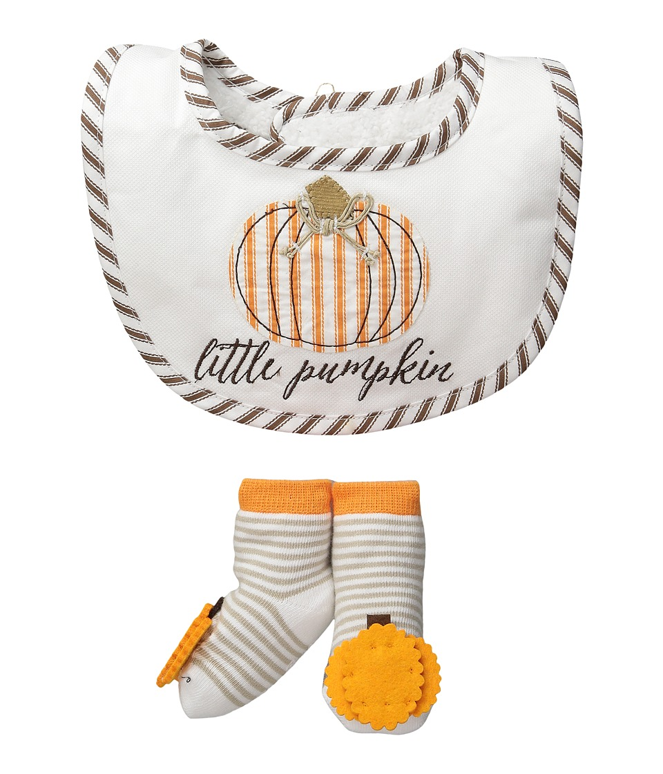 Mud Pie - Little Pumpkin Bib Sock Set (Infant) (Orange) Girls Shoes