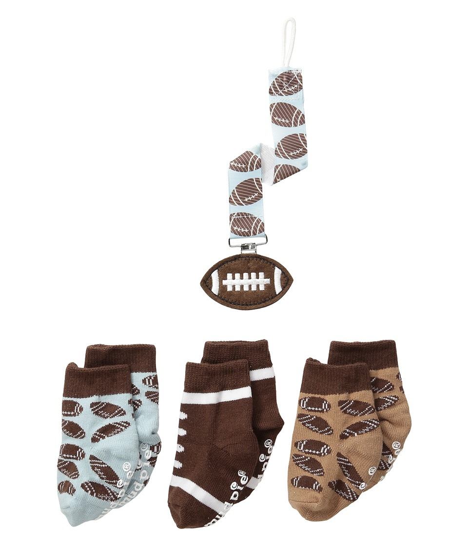 Mud Pie - Football Sock Pacy Clip Set (Infant) (Brown) Boys Shoes