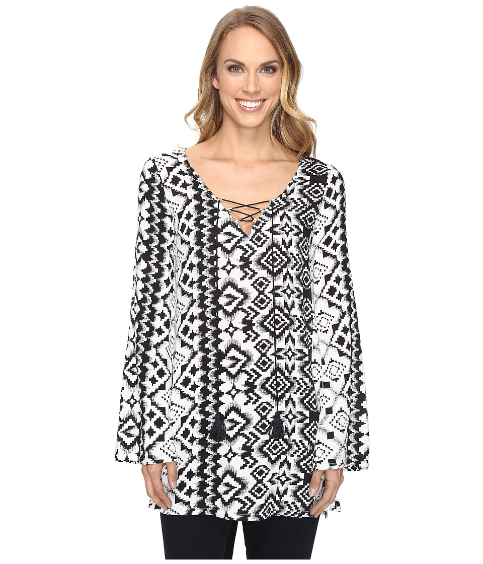 Roper - 0804 Aztec Print Tunic Top (Black) Women's Clothing