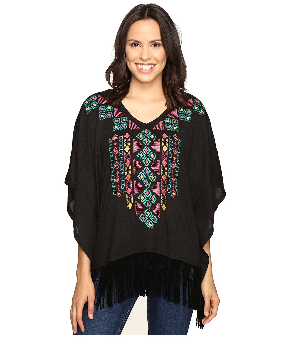 Roper - 0612 Solid Sweater Jersey Poncho (Black) Women's Sweater