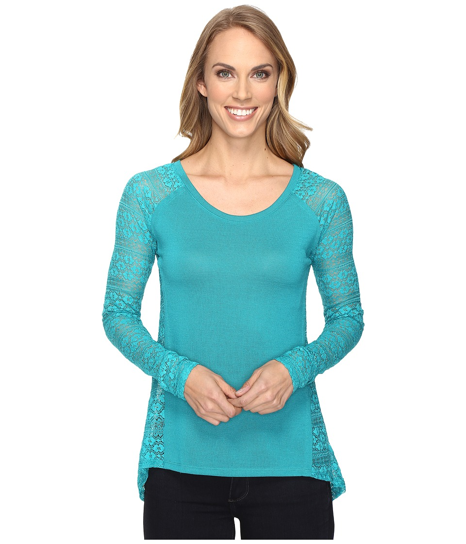 Roper - 0610 Sweater Jersey Laced Pieced Top (Blue) Women's Sweater