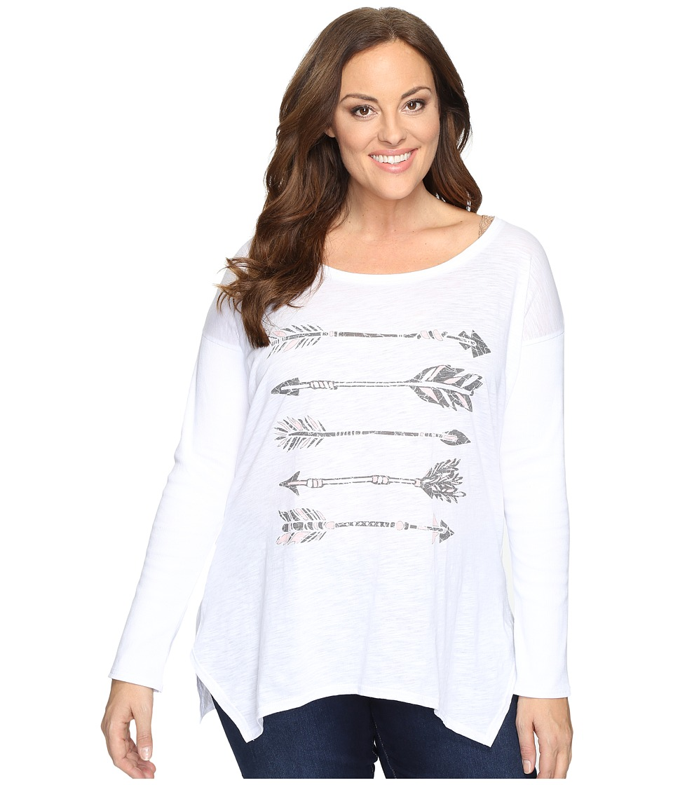 Roper - Plus Size 0606 Slub Jersey Slouchy Tee (White) Women's T Shirt