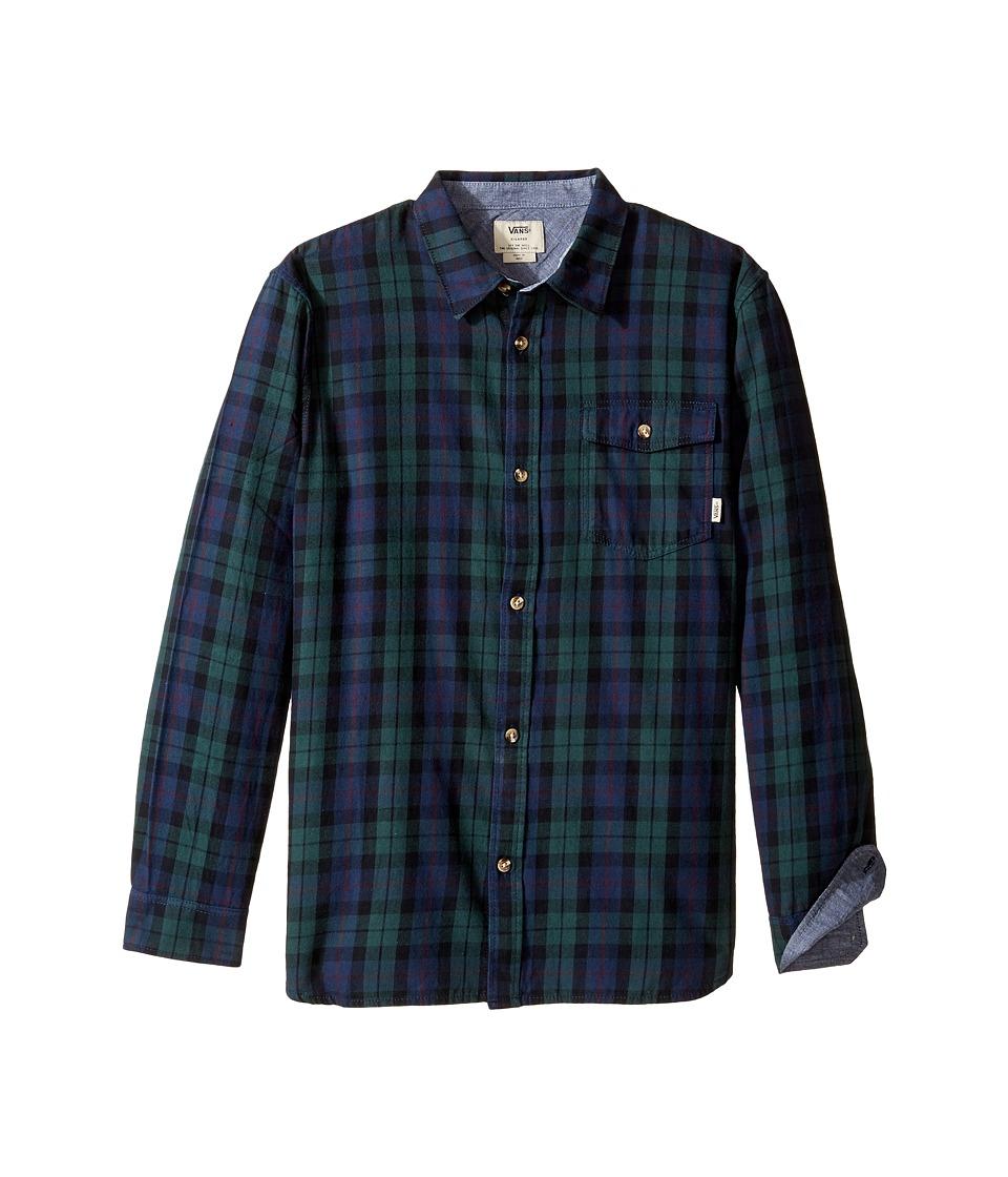 Vans Kids - Lachlan Flannel (Big Kids) (Green Gables/Dress Blues) Boy's Clothing