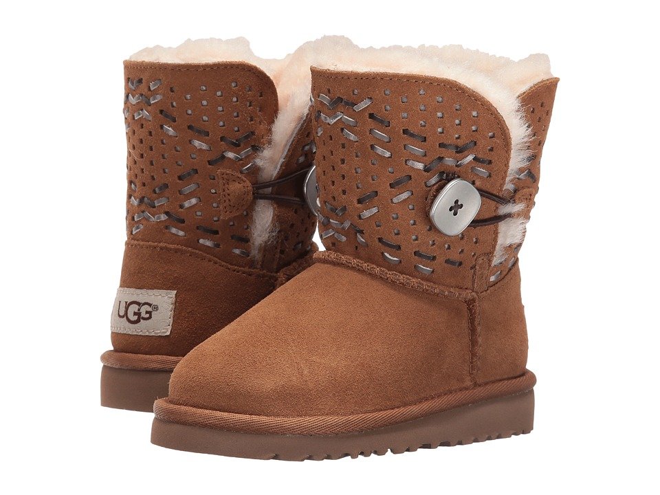 UGG Kids - Bailey Button Tehuano (Toddler/Little Kid) (Chestnut) Girls Shoes