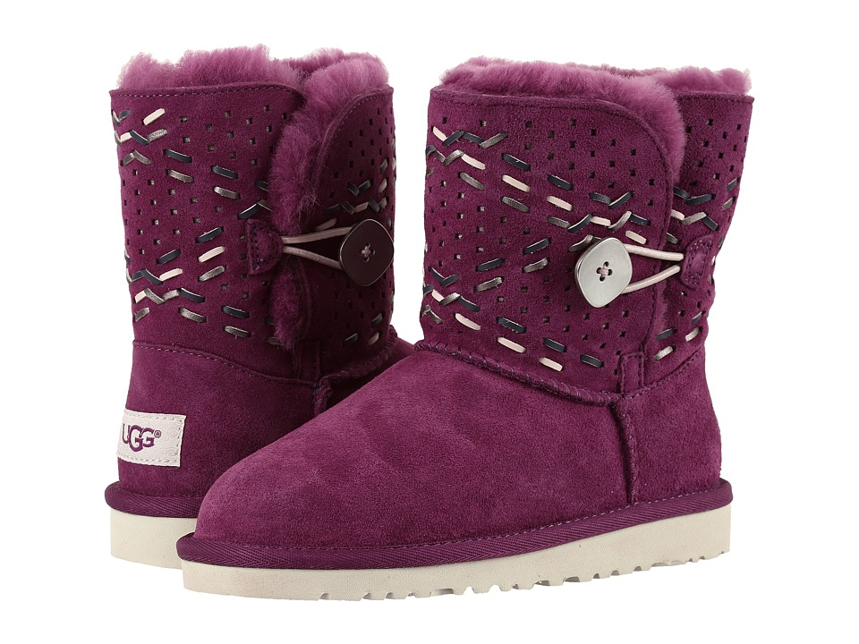 UGG Kids - Bailey Button Tehuano (Little Kid/Big Kid) (Purple Passion) Girls Shoes