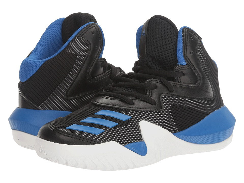 adidas Kids Crazy Team Basketball (Little Kid/Big Kid) (Core Black/Blue/Utility Grey) Boys Shoes
