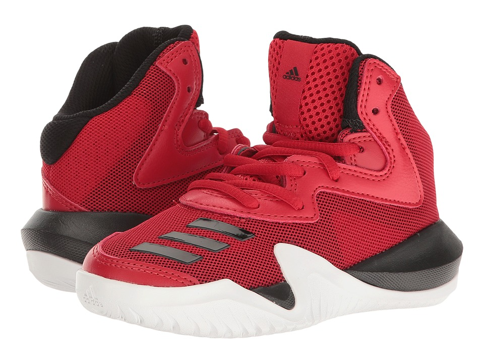 adidas Kids - Crazy Team Basketball (Little Kid/Big Kid) (Core Black/Solid Grey/Scarlet) Boys Shoes