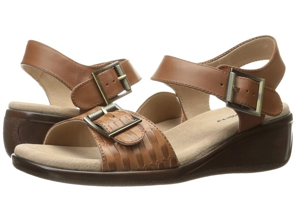 Trotters - Eden (Cognac Embossed/Cognac) Women's Wedge Shoes