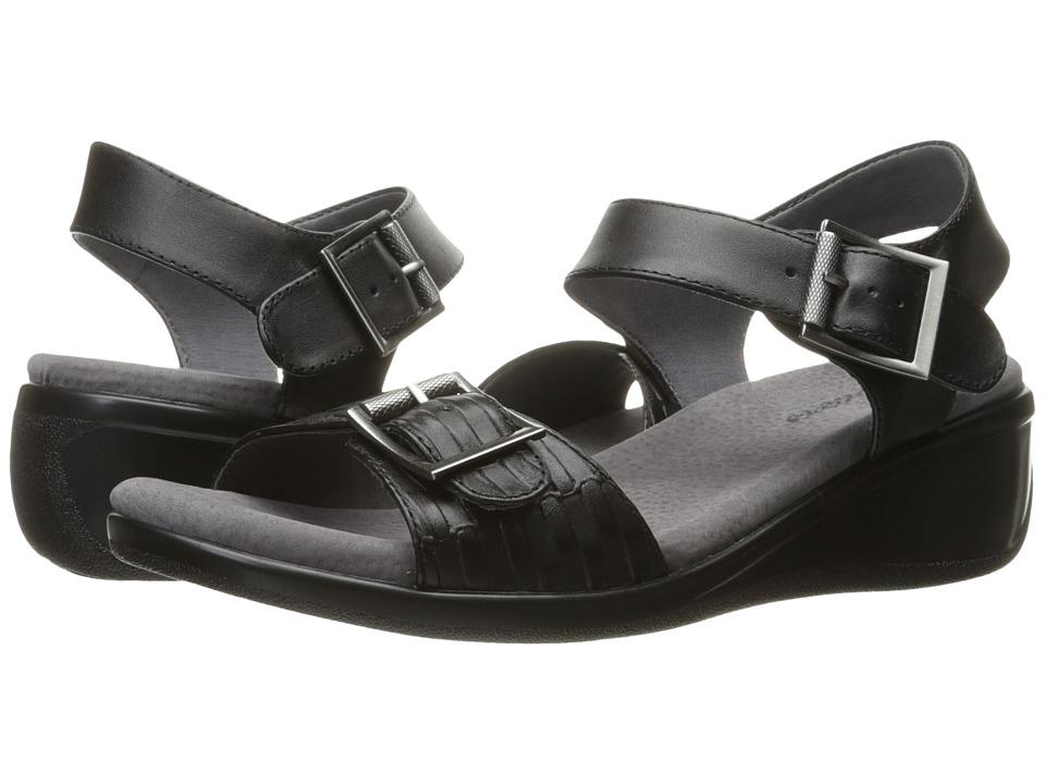Trotters - Eden (Black/Embossed/Black) Women's Wedge Shoes