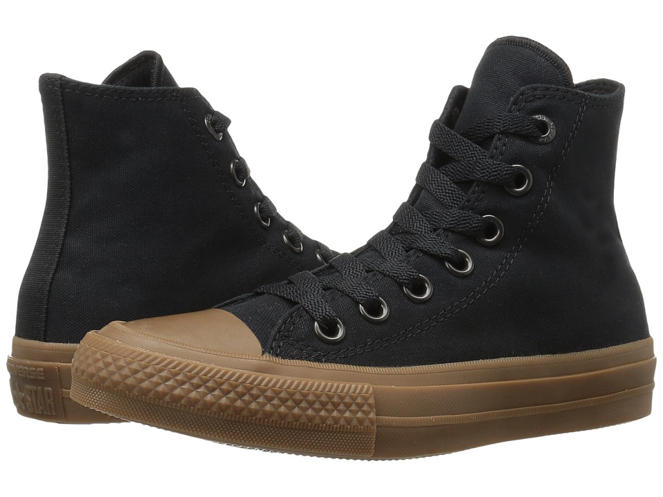 Converse Kids - Chuck Taylor All Star II Hi (Big Kid) (Black/Black/Gum) Boys Shoes