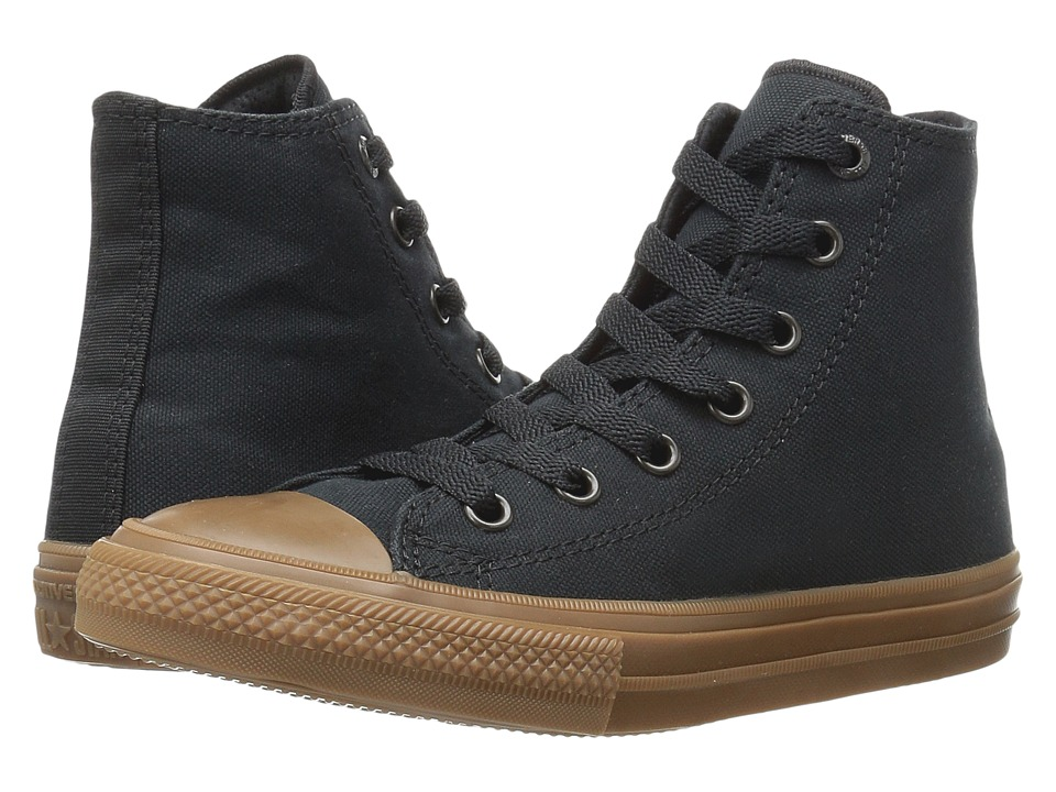 Converse Kids - Chuck Taylor All Star II Hi (Little Kid) (Black/Black/Gum) Boys Shoes
