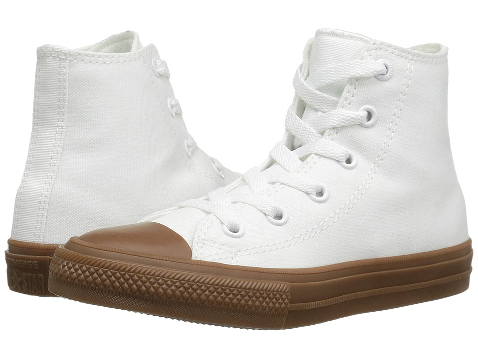 Converse Kids Chuck Taylor All Star II Hi (Little Kid) (White/White/Gum) Boys Shoes