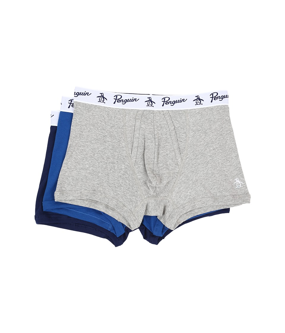 Original Penguin - 100% Cotton 3 Pack Trunk (Heather Grey/Classic Blue/Medieval Blue) Men's Underwear
