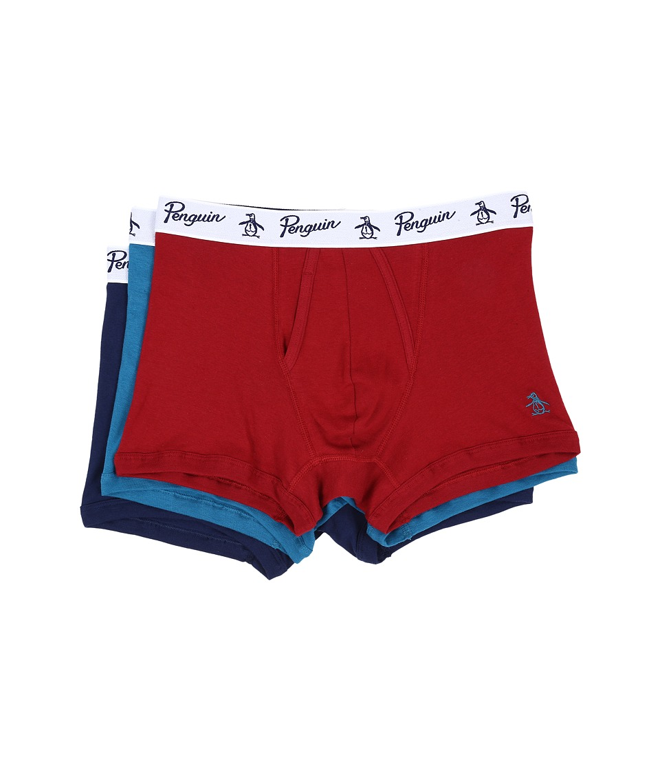 Original Penguin - 100% Cotton 3 Pack Trunk (Biking Red/Seaport/Medieval Blue) Men's Underwear