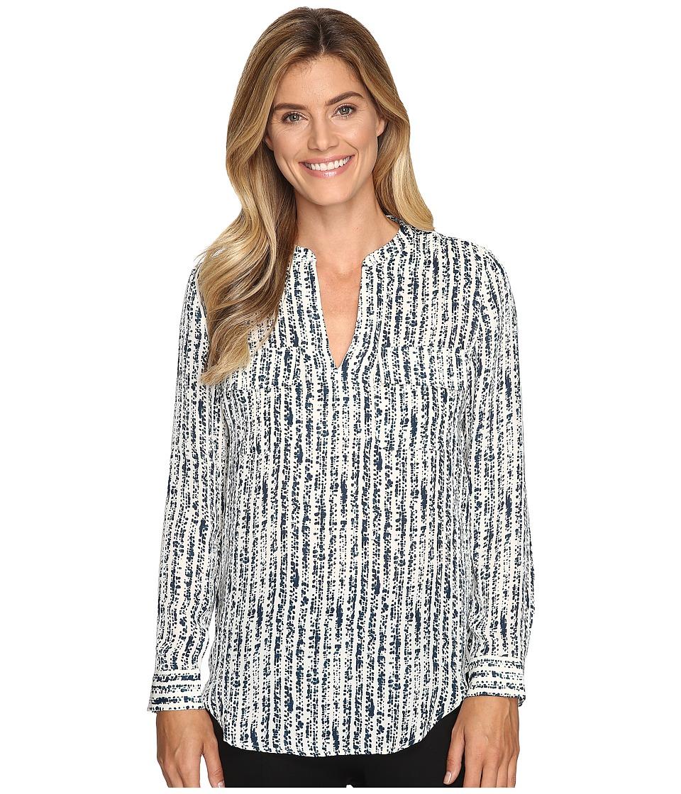 Lilla P - Long Sleeve Pocket Front V-Neck Top (Wintergreen Print) Women's Clothing