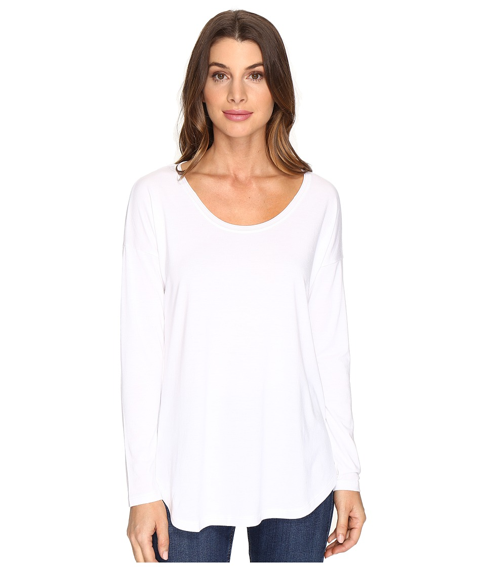 Lilla P - Long Sleeve Slit Back (White) Women's Clothing