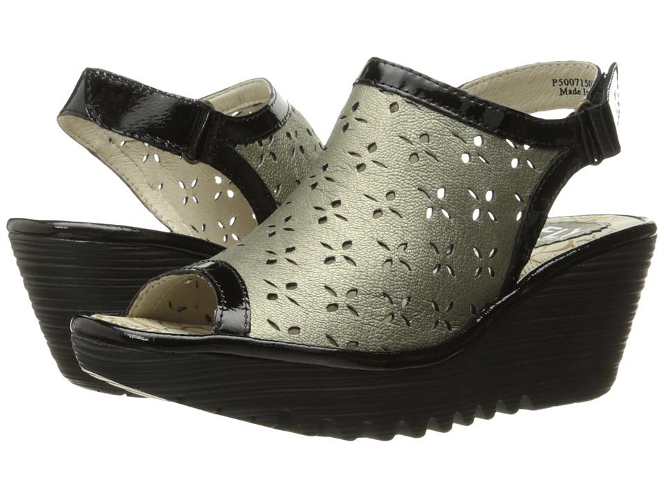 FLY LONDON - Ybel715Fly (Gold/Black Borgogna/Damani) Women's Shoes