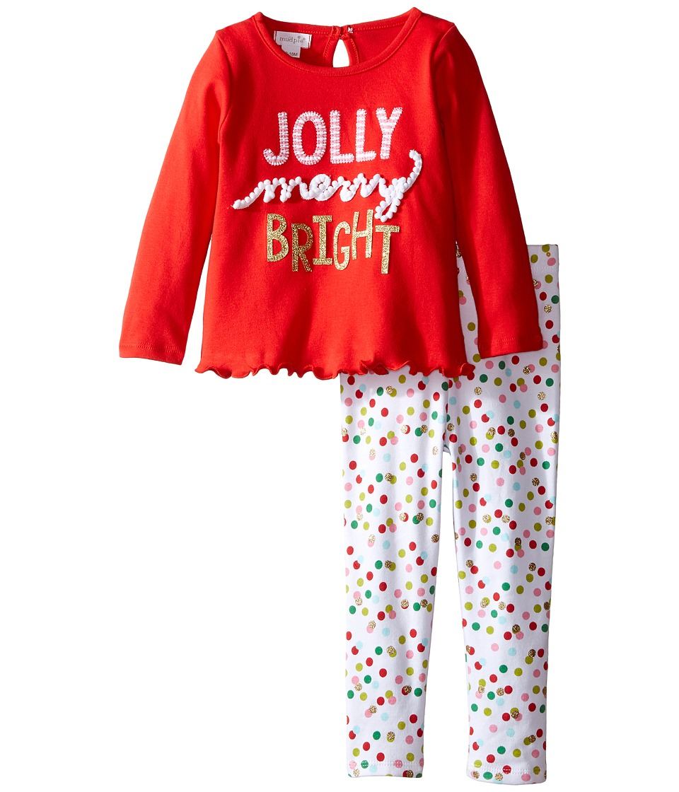 Mud Pie - Jolly Tunic Leggings Set (Infant) (Red) Girl's Active Sets