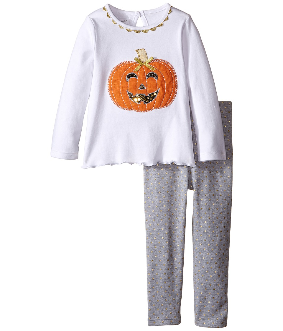 Mud Pie - Pumpkin Tunic Leggings Set (Infant) (White) Girl's Active Sets