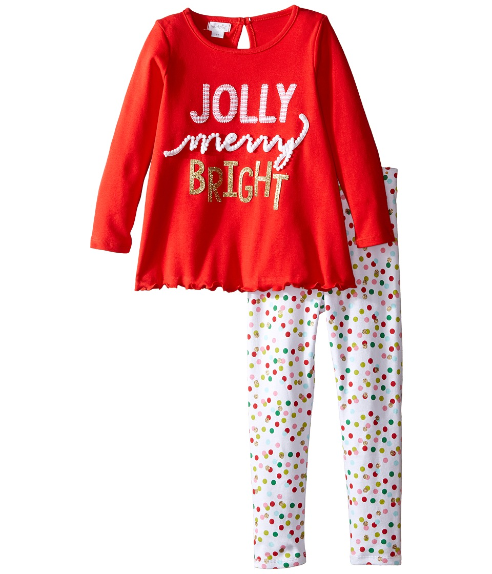 Mud Pie - Jolly Tunic Leggings Set (Toddler) (Red) Girl's Active Sets