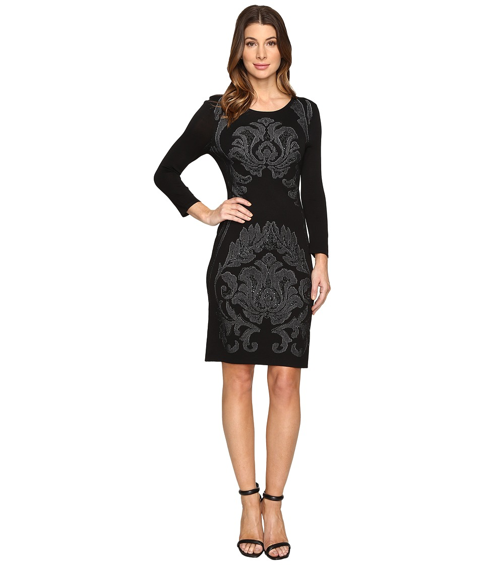 Laundry by Shelli Segal - 3/4 Sleeve Jacquard Sweater Dress with Embellishment (Black) Women's Dress