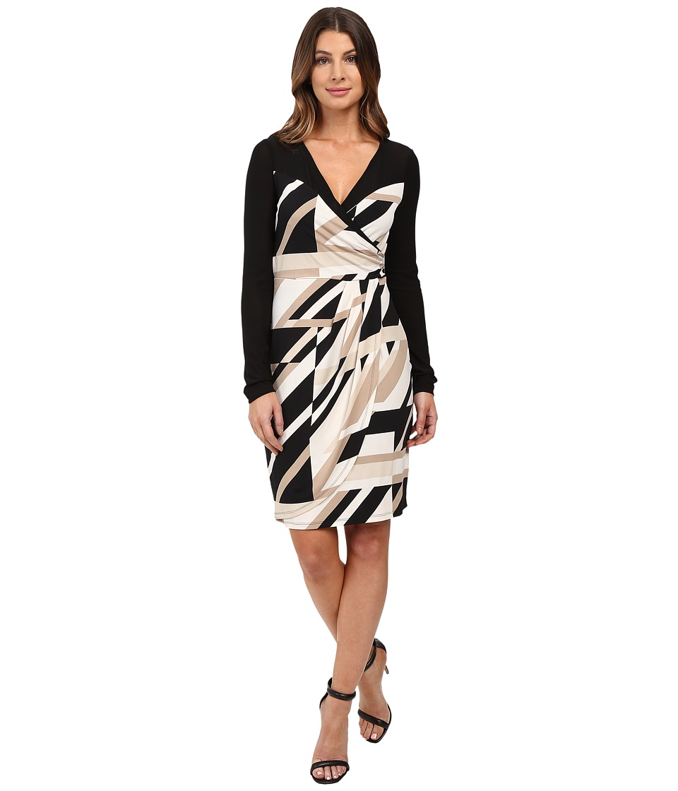 Laundry by Shelli Segal - Printed Matte Jersey Faux Wrap Dress with Mesh Detail (Khaki) Women's Dress