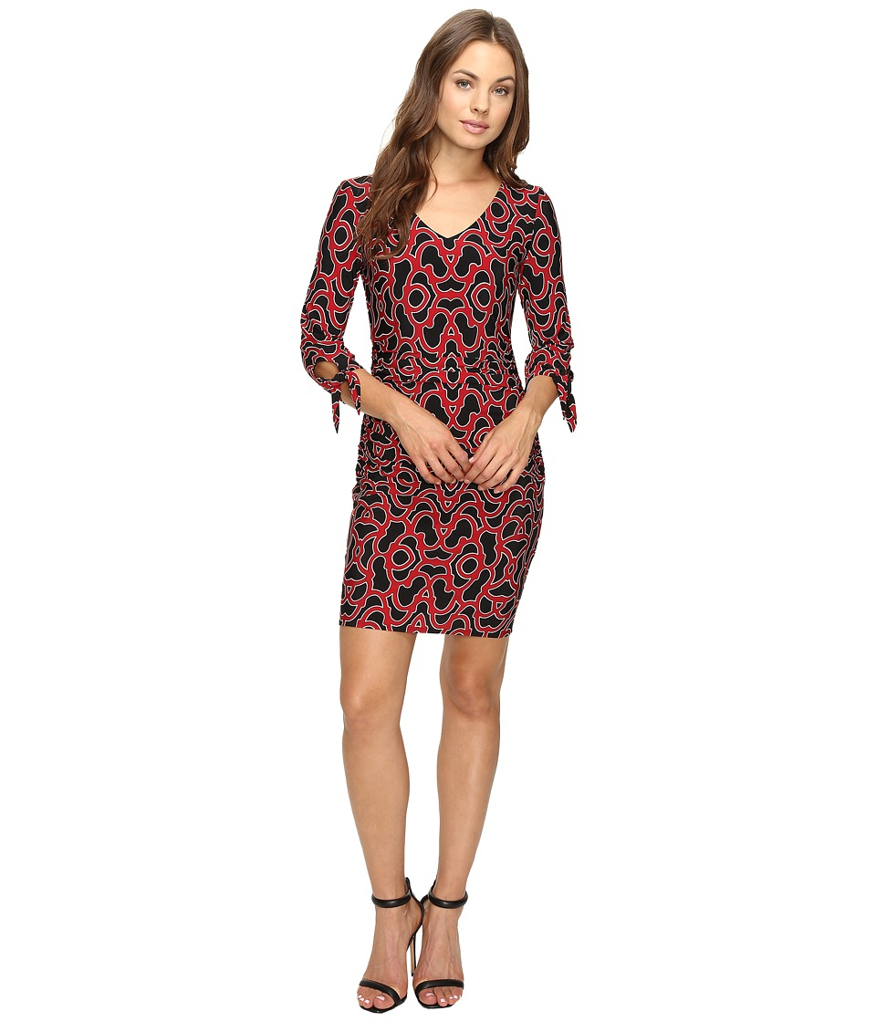 Laundry by Shelli Segal Tie Sleeve Printed Matte Jersey Dress (Sultry Red) Women