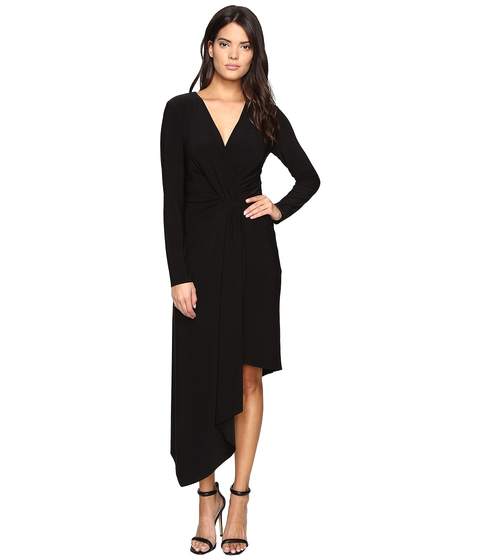 Laundry by Shelli Segal - Asymmetrical Draped Wrap Dress-Curve Control Lining (Black) Women's Dress