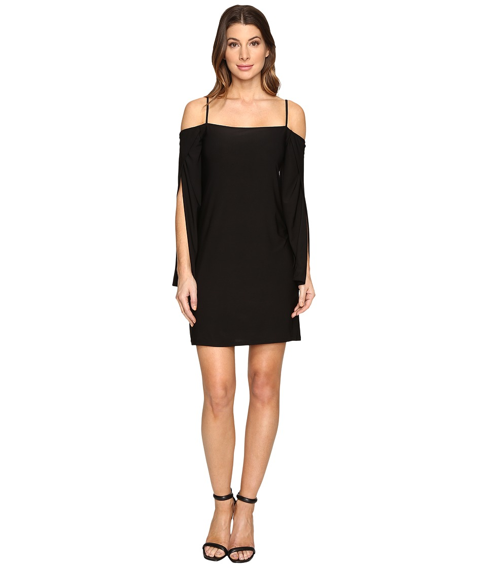 Laundry by Shelli Segal - Long Wrap Slit-Sleeve Off the Shoulder Cocktail Dress (Black) Women's Dress