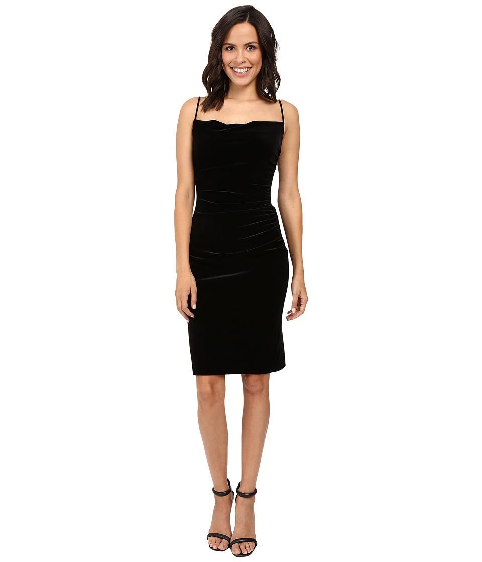 Laundry by Shelli Segal Stretch Velvet Shirred Cocktail Dress (Black) Women
