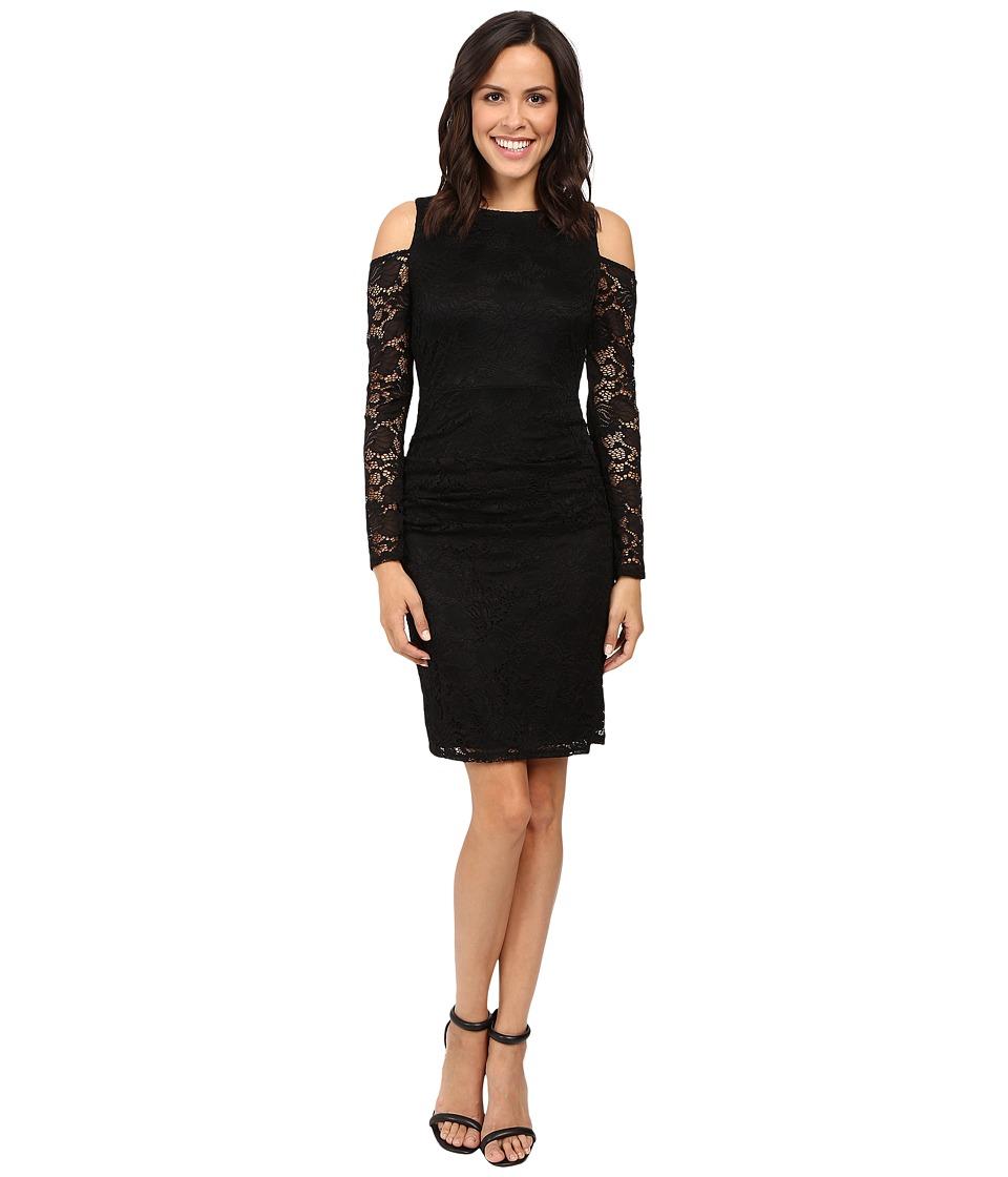 Laundry by Shelli Segal Cold Shoulder Lace Dress (Black) Women