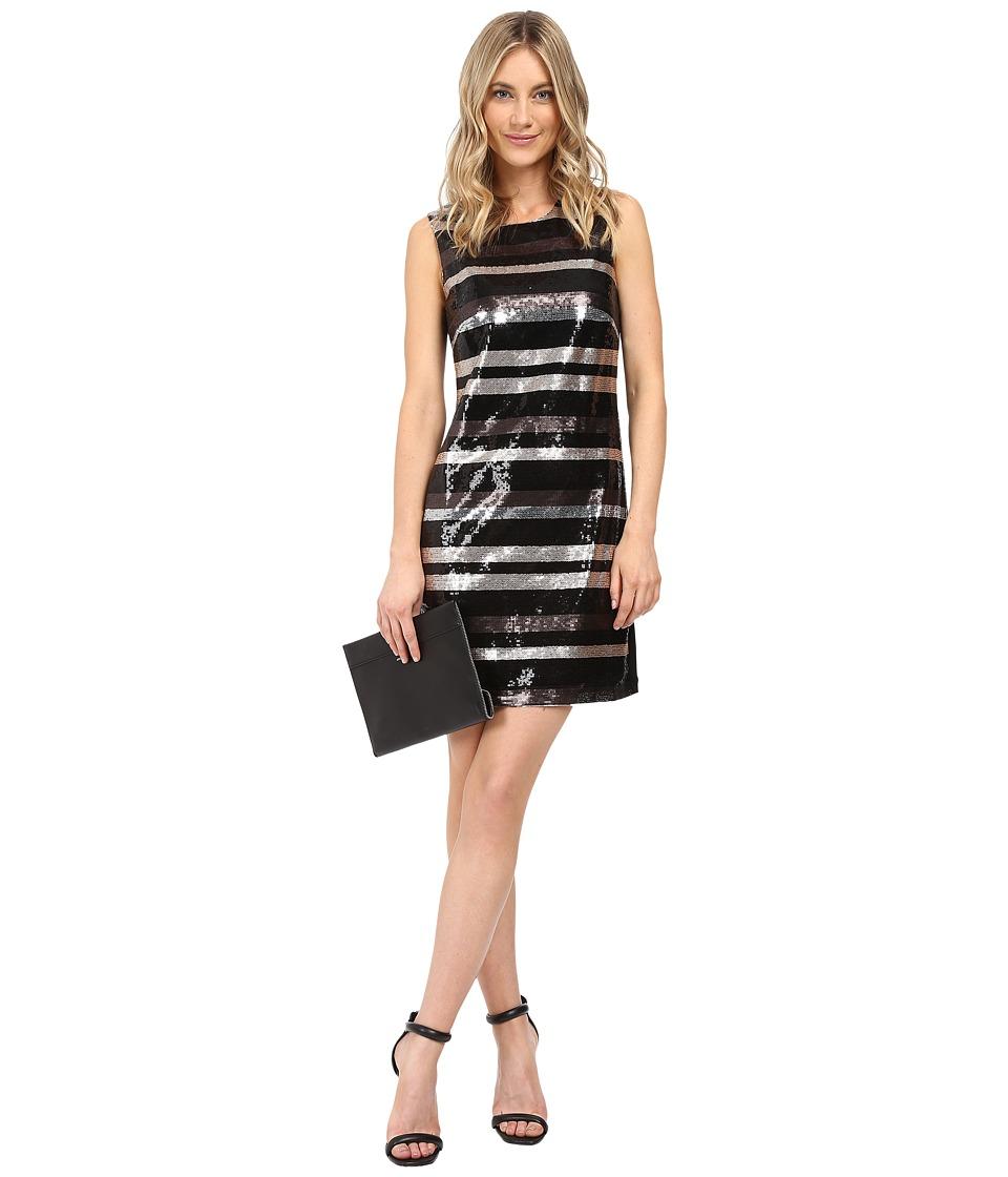 Laundry by Shelli Segal Stripe Sequin Dress (Black) Women