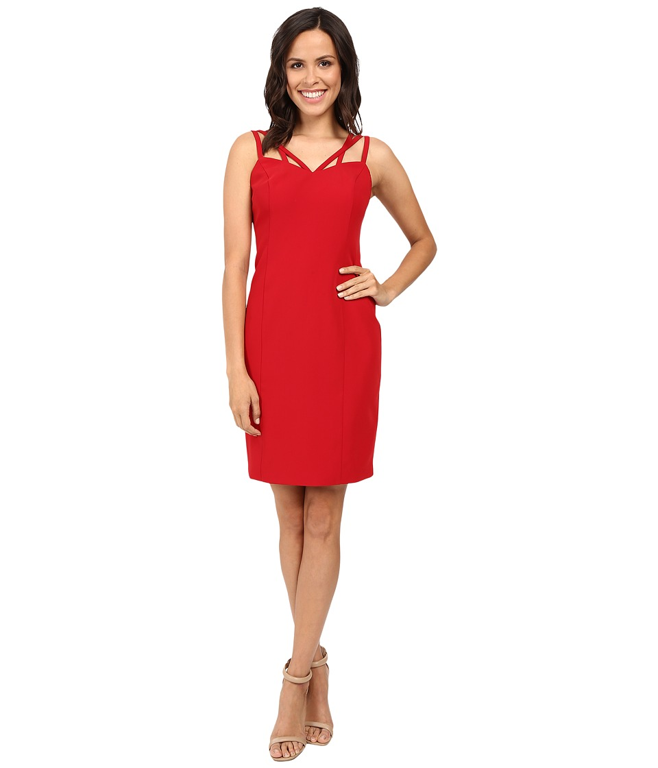 Laundry by Shelli Segal Fitted Strappy Sheath with Weaving Detail Sultry Red Dress