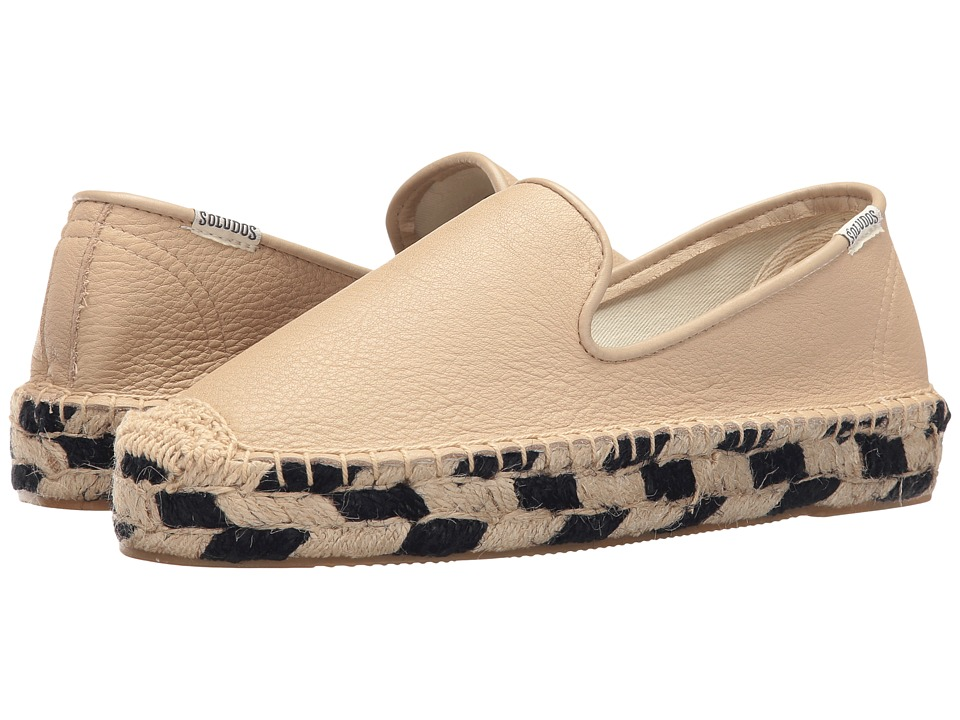Soludos - Platform Smoking Slipper (Papyrus Leather) Women's Slip on Shoes