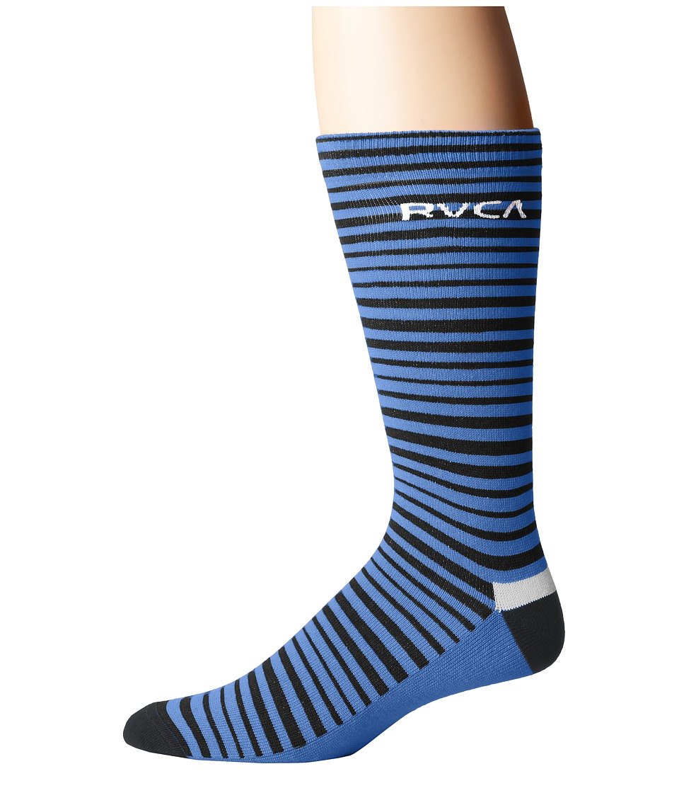 RVCA - Line O Sight Socks (Dark Blue) Men's Crew Cut Socks Shoes