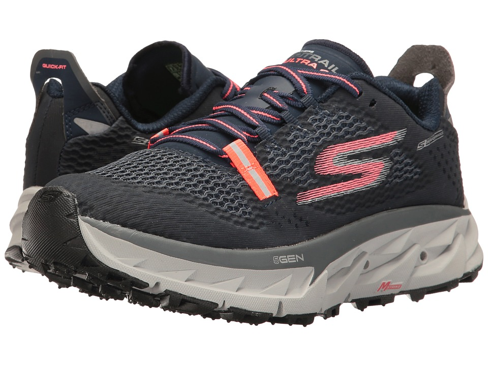 SKECHERS - Go Trail Ultra 4 (Navy/Coral) Women's Running Shoes