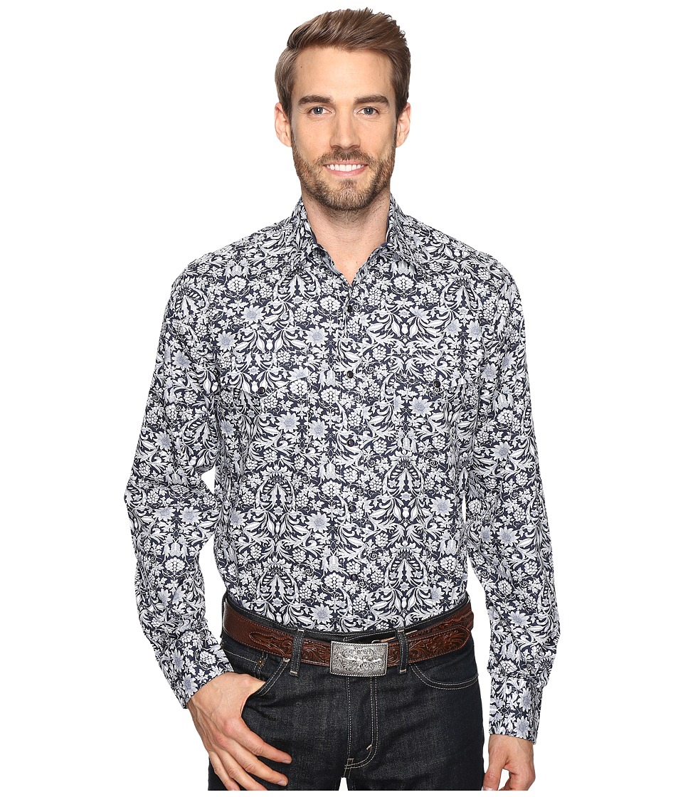 Stetson - Morris Tapestry Print Snap (Blue) Men's Clothing