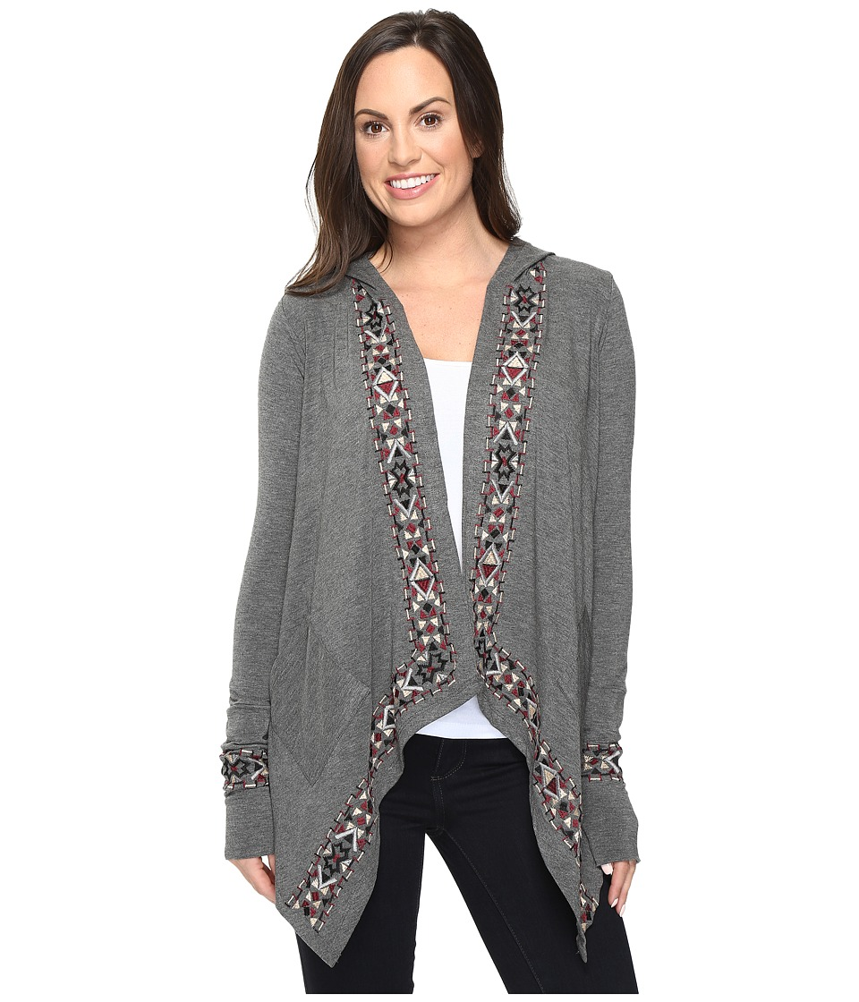 Stetson - Rayon Jersey Hooded Cardigan (Grey) Women's Sweater