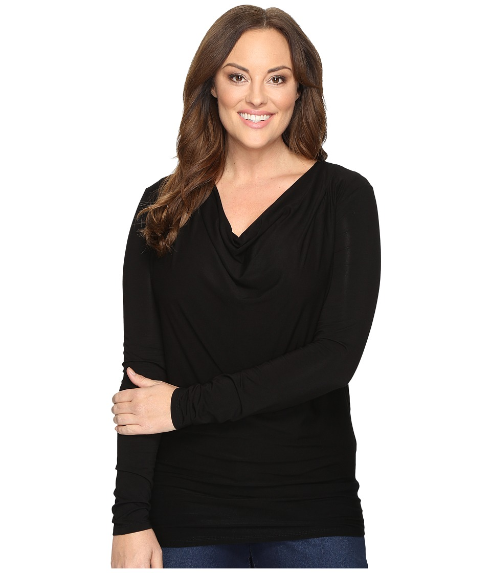 Stetson - Plus Size Rayon Jersey Long Sleeve Blouse (Black) Women's Blouse