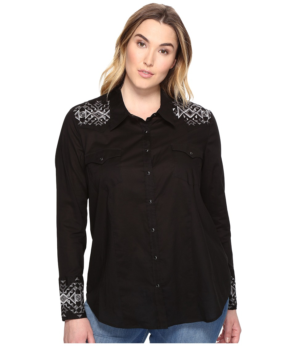 Stetson - Plus Size Solid Lawn - Black Long Sleeve Western Shirt (Black) Women's Clothing