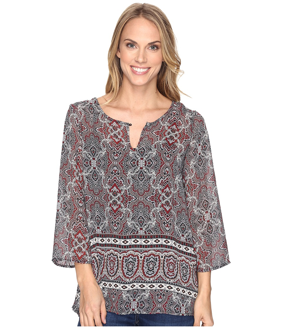 Stetson - Gypsy Border Chiffon Peasant Top (Grey) Women's Clothing