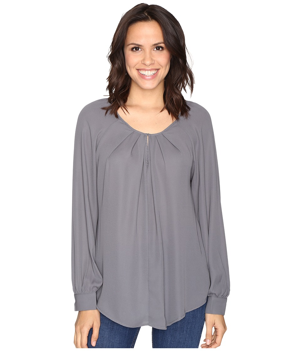 Stetson - Poly Crepe Peasant Blouse (Grey) Women's Blouse