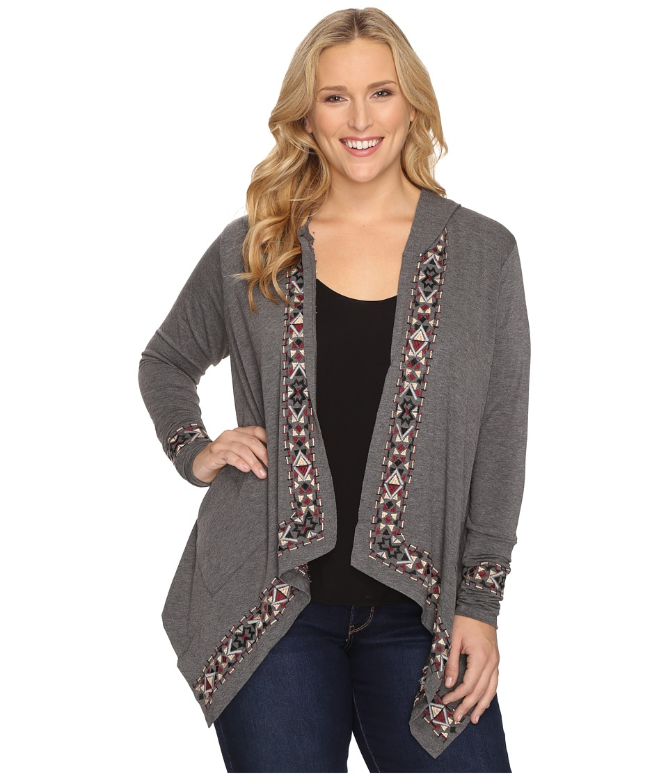 Stetson - Plus Size Heather Charcoal Rayon Cardigan (Grey) Women's Sweater